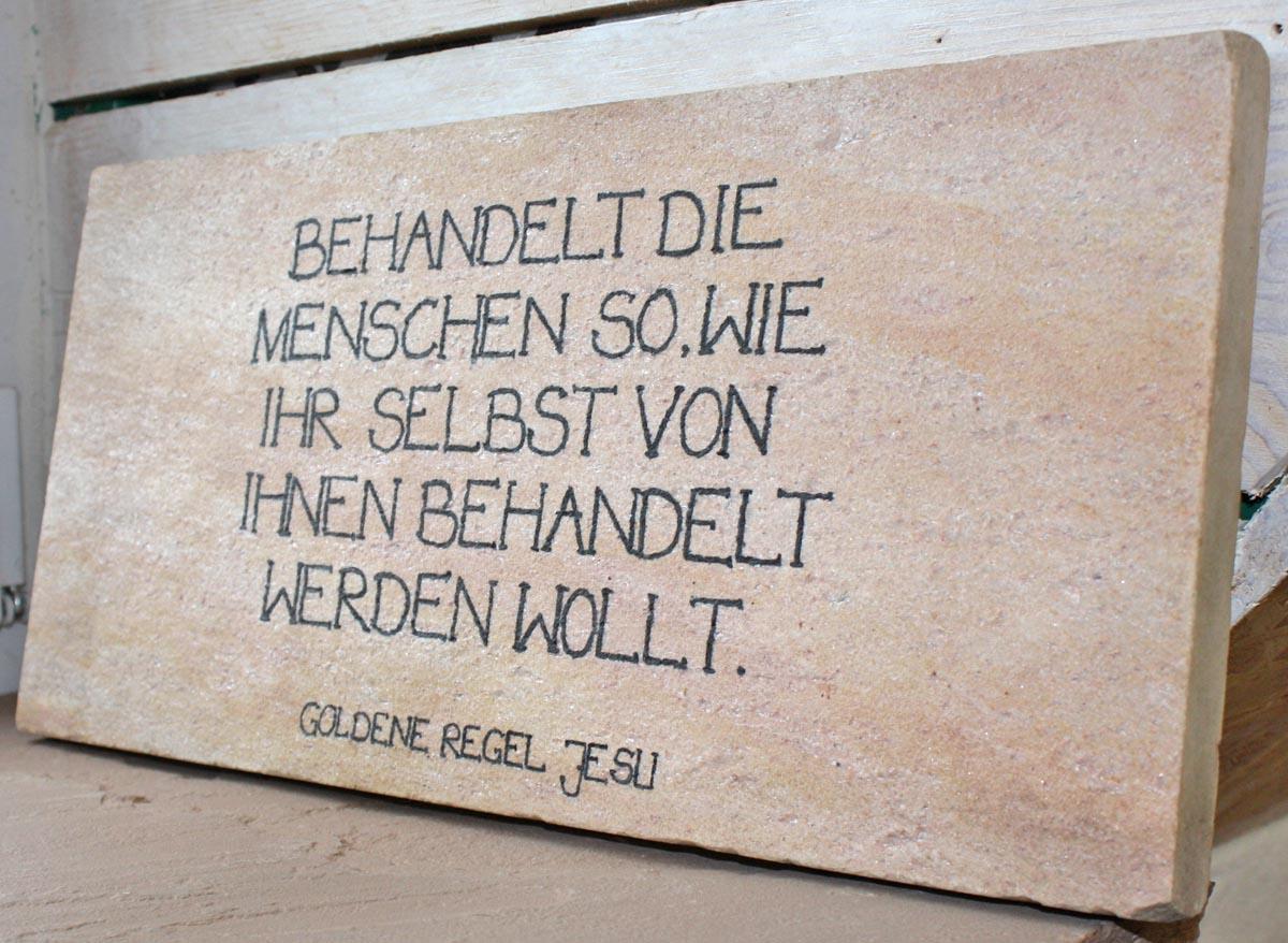 """Spruchtafel """"Goldene Regel"""" Naturstein Centrum LPM"""