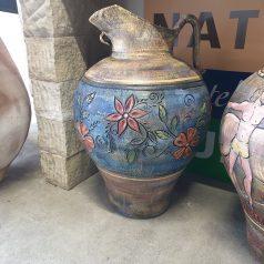 Florales Motiv Blumen Karaffe handbemalt Kreta Keramik bei Naturstein Centrum LPM Krostitz bei Leipzig