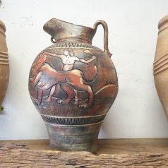 Karaffe Löwen Motiv farbig Kreta Keramik bei Naturstein Centrum LPM Krostitz bei Leipzig
