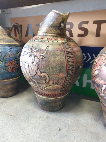 Stier Motiv Karaffe Kreta Keramik Naturstein Centrum LPM Krostitz bei Leipzig