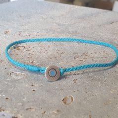 verstellbares Armband aus geflochtener Kordel mit silbernem Bösen Auge