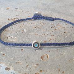 verstellbares blaues Armband aus geflochtener Kordel mit silbernem Bösen Auge